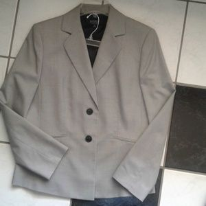 Kasper Jacket Blazer Gray Striped Blue Pinstripe